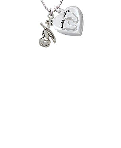 Violin Custom Engraved Baby Feet Heart Locket Necklace