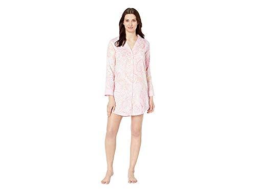 - LAUREN RALPH LAUREN Women's Pointed Notch Collar Sleepshirt Pink Paisley Print X-Large