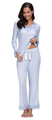 Jusfitsu Womens Cotton Pajamas Set Long Sleeve Top Shirt with Pants Sleepwear Modal Soft Loungewear Lace Pattern M (Shirt Pajamas Pants)