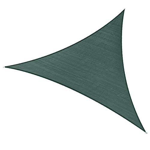 PHI VILLA Sun Shade Sail Triangle 20 x20 x20 Dark Green Patio Canopy Cover – UV Bloack – for Patio, Garden, Yard, Pergola