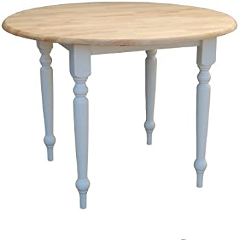 Target Marketing Systems 40 Inch Round Drop Leaf Table With Turned Legs,  White/