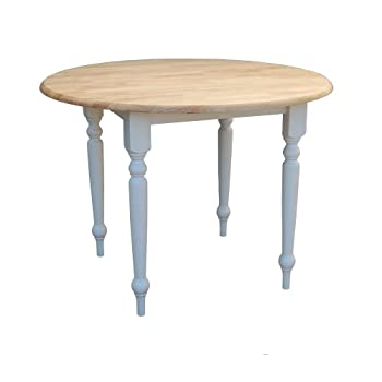 Target Marketing Systems 40-Inch Round Drop Leaf Table with Turned Legs, White/Natural
