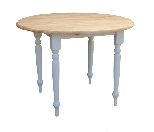 Target Marketing Systems 40-Inch Round Drop Leaf Table with Turned Legs, White/Natural (Table Drop Leaf Round)