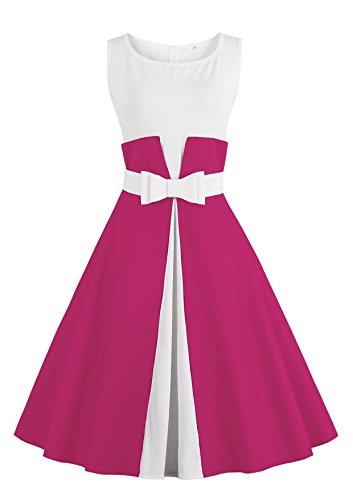 Vestido de fiesta de noche estilo vintage vestido de coctel con falda plisada de Babyonlinedress fucsia