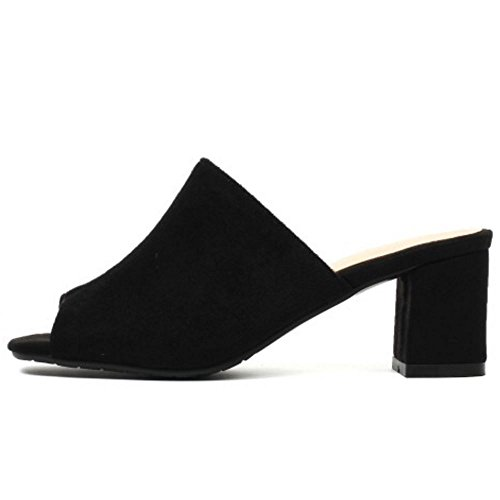 Scivolare su Sandali Melady Heels Donne Mode Mules Black grFWW7I8n