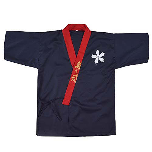 Japanese Sushi Chef Coat Uniforms Kimono for Unisex wafu(Bule M)]()