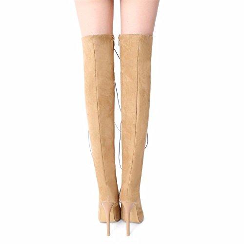 Gran tamaño cruzada correas tacones de tubo botas tacones hueco de lady Apricot sandalias altos rodilla cool de TS4TRqw