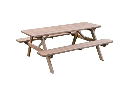 Pressure Treated Pine 8 Foot Picnic Table with Attached Benches- Oak - Treated Pressure Picnic Table