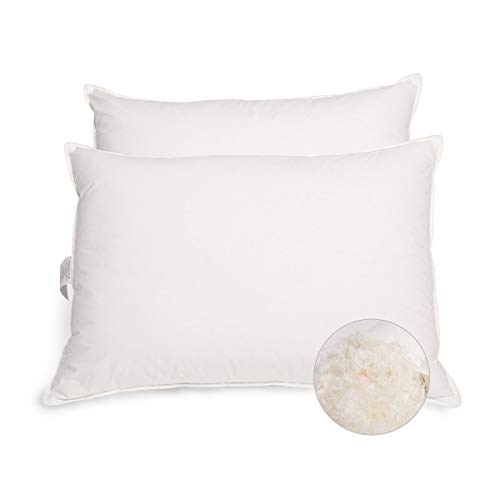 PEACE NEST White Goose Feather and Down Pillows, 95% Feather And 5% Down,100% Egyptian Cotton Cover, Queen Size 20