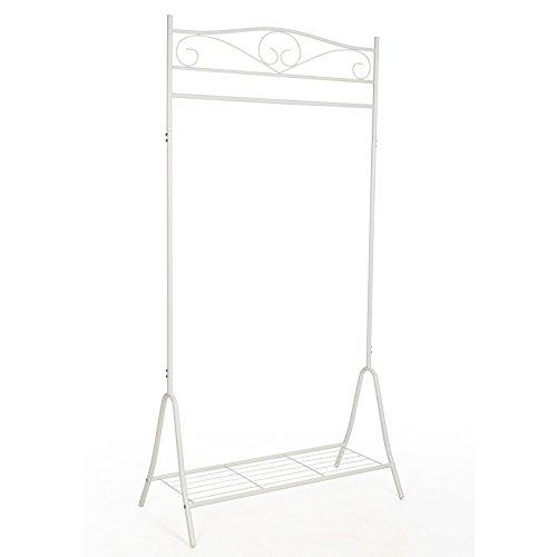 Songmics Höhe 173cm Metall Antik Kleiderständer Kleiderstange Garderobenständer mit Schuhablage Weiß HSR01W