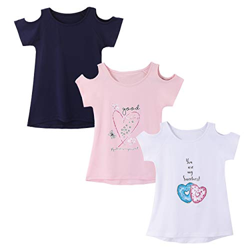 IRELIA 3 Pack Girls Short Sleeve Tee Shirts Cold Shoulder NaPi503Wh504 M