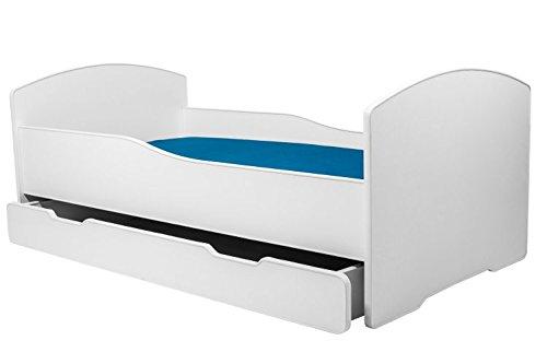 Lettino per bambini da letto per bambini BIANCO dimensione 140x70 con un materasso, con un cassetto KOBI