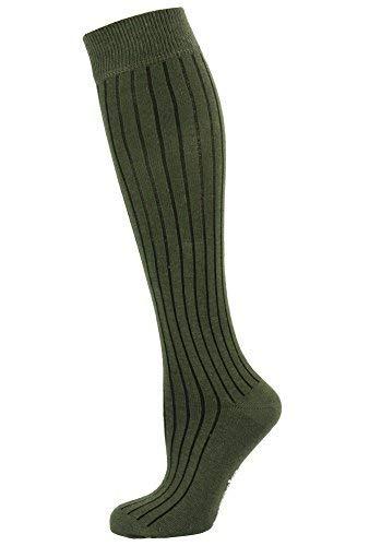 Mysocks Unisex Knee High Long Socks Plain Khaki Ribbed - Khaki Unisex Socks