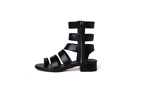 15388f0dedd0 Galleon - 2018 New Genuine Leather Gladiator Sandals Women Cut Outs Sexy  Summer Black Ladies Sandals