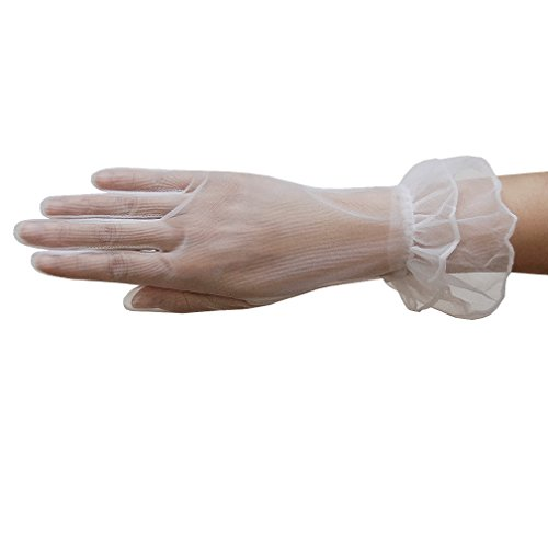 ZaZa Bridal Gorgeous Sheer Gloves with Double Ruffle Tricot Slip-on Wrist Length 2BL-White