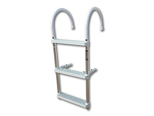 Pactrade Marine Boat Aluminum Polyethlene Swim Boarding 3 Steps Ladder Hook, White