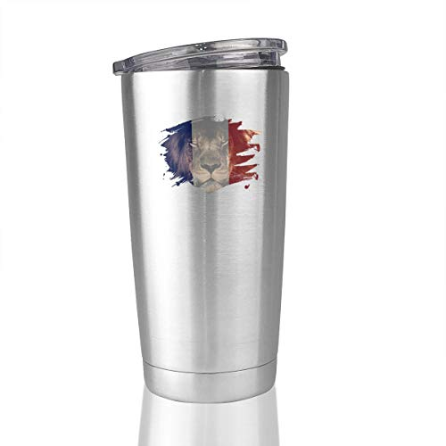 France Flag Lion 20 Oz Stainless Steel Vacuum Insulated Tumbler Coffee Mugs Novelty Gifts]()