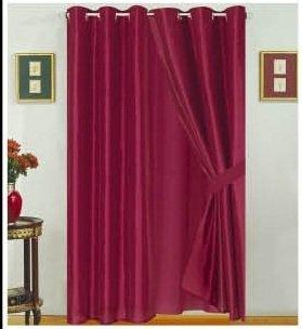 Amazon Com Modern Burgundy Faux Silk Satin Windows Curtains