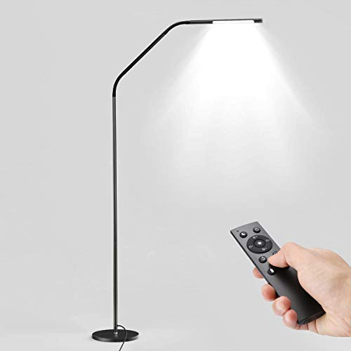 - LE Dimmable LED Floor Lamps, Gooseneck Adjustable Reading Lamp, 6W, 6 Lighting Modes, Memory Function, Remote Control, Touch Control Standing Lamp for Living Room, Office, Hotel and More, Black