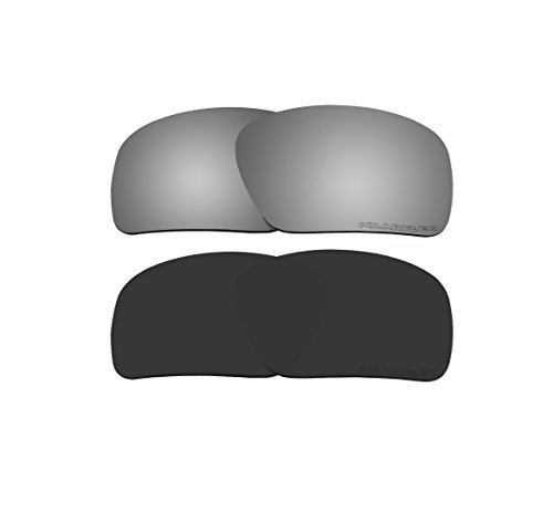 2 Pairs BVANQ Polarized Replacement Lenses Black & Black Mirror for Oakley Triggerman OO9266 - Asian Fit Triggerman