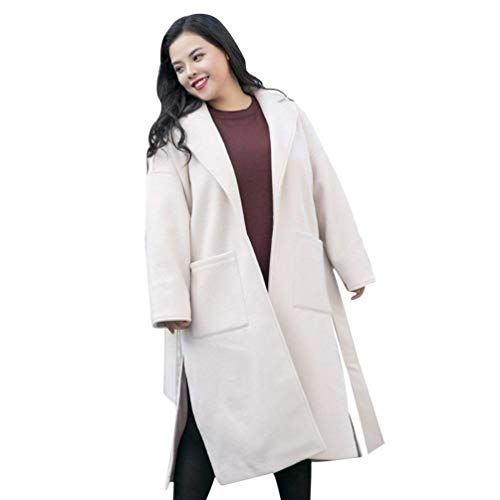 BIRAN Parka Femme Printemps Automne Longues Oversize Trench Casual Elgante Mode Unicolore Manteau breal Manches Longues Revers avec Poches Ceinture Coat Outerwear Blanc