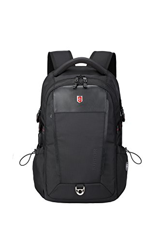 Laptop Travel Backpack, water repellent with USB Port, earphone port, fits up to 15.6 laptop, Executive 26 by SWISS RUIGOR – BLACK