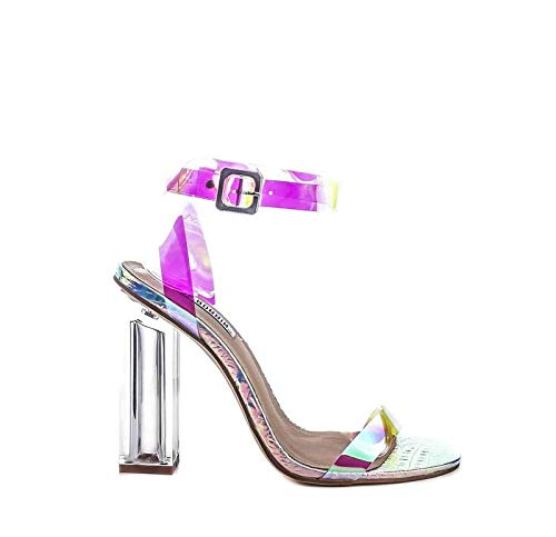Cape Robbin Maria-2 Women's Lucite Clear Strappy Block Chunky High Heel Open Peep Toe Sandal,Hologram (10)
