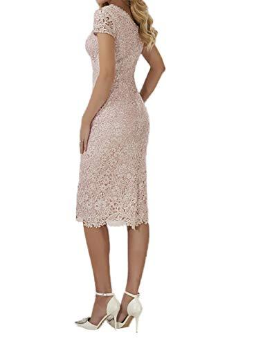 Blau Damen Brautmutterkleider Spitze mit Charmant Partykleider Abendkleider Kurzarm Knielang Etuikleider Lilac Uqdw15R