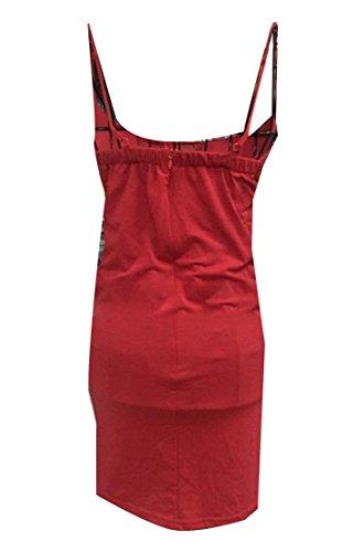 Les Femmes Coolred Slip Couleur Pure Enveloppé Poitrine Sexy Slip Rouge Robe De Cocktail