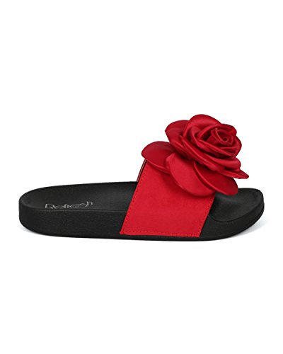 Alrisco Women Mixed Media Open Toe Diapositiva 3d Rose Footbed - Hg32 By Refresh Collezione Red Mix Media