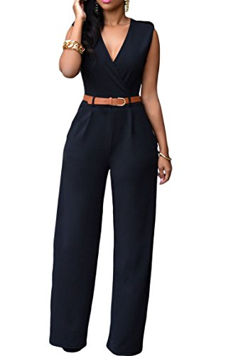 Roswear Womens Sexy Plunge V Neck Belted Wide Leg Jumpsuits Dress Black1 Large