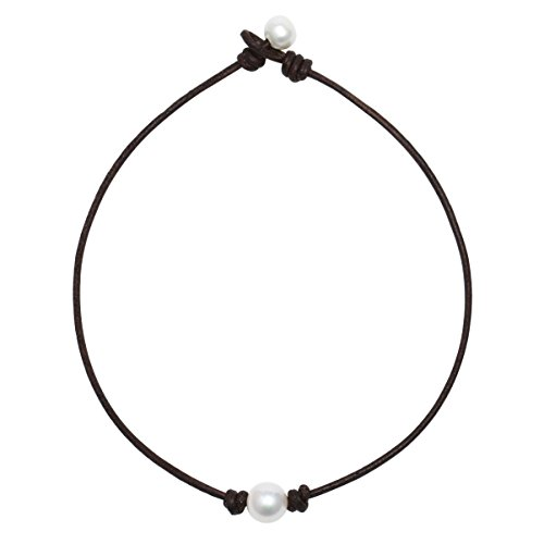 POTESSA Single Pearl Choker Genuine Dark Brown Leather Necklace Handmade Pearl Jewelry Gifts for Women Girls Ladies 14