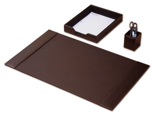 Desk Accessory Set, 3-piece Genuine Brown Leather (Desk Pad Sets)