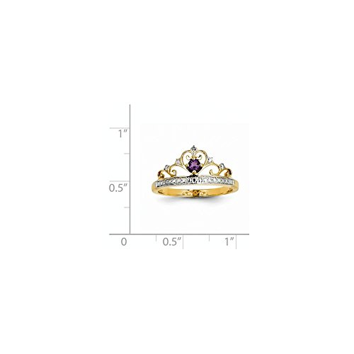 14k 0.1ct Yellow Gold & Rhodium Plated Diamond & Amethyst Heart Gemstone Ring (Color H-I, Clarity SI2-I1) (Ct 0.1 Gemstones)