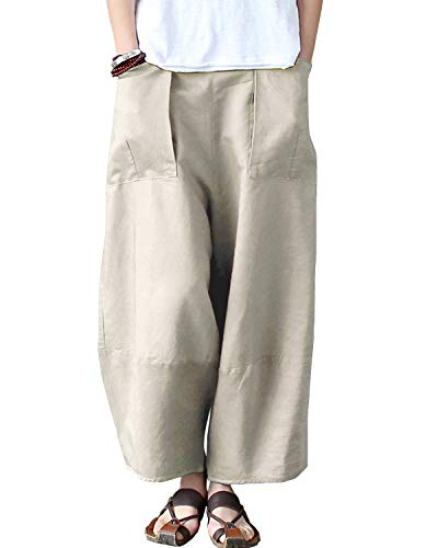 Aeneontrue Women's Casual Linen Wide Leg Pants Trousers with Elastic Waist (Style1_Nature Linen, Medium)