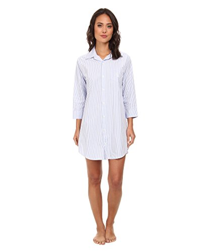 Stripe Shirt Bengal French Blue - LAUREN RALPH LAUREN Women's Essentials Striped His Shirt Carissa Bengal Stripe French Blue/White Medium