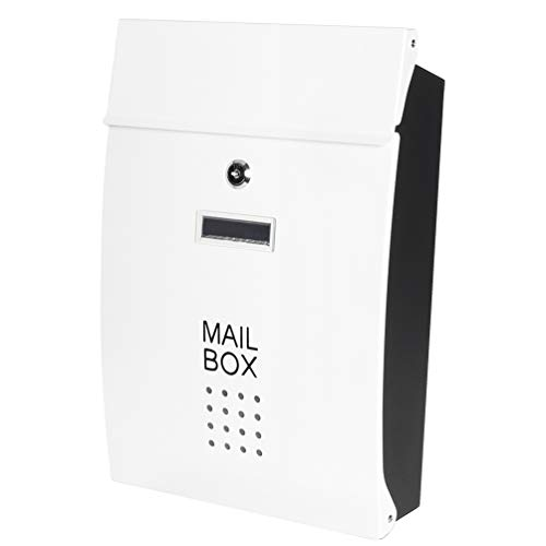 Safe Wall Mounted Mailboxes with Key Lock, Decaller Metal Medium Galvanized Rust-Proof Mail Box, 10 3/5 x 15 3/5 x3 1/2, White