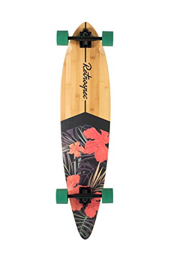 Retrospec Zed Longboard Pintail Bamboo Long Board Skateboard Cruiser Tropical Flora, One Size (Back To The Future Skateboard For Sale)