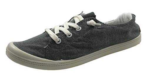Classic Slip Sneakers - Forever Link Women's Classic Slip-On Comfort Fashion Sneaker, Charcoal Grey, 6