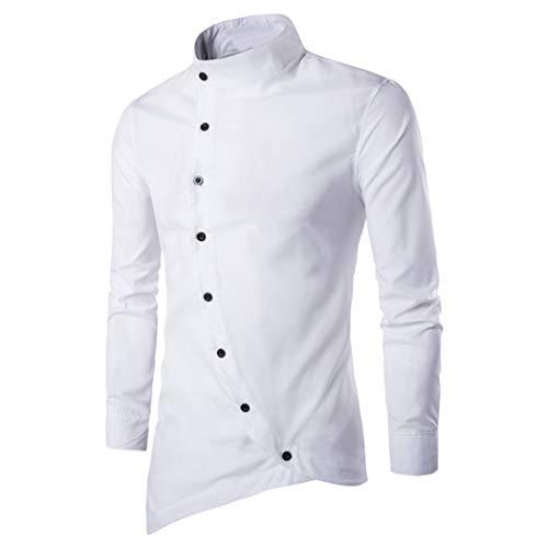 FUNOC Men's Business Shirts Irregular Asymmetric Stand Collar Long Sleeve Shirt by FUNOC