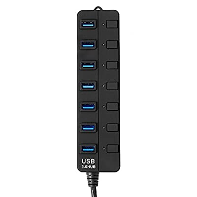 InTeching 5Gbps High Speed 7-Port USB 3.0 Hub with Individual Power Switches Indicators for USB Flash Disk, iPhone 6, 6 Plus, 7, 7 Plus, Samsung S6, S6 Edge, 7, 7 Edge, Windows PC Mac Linux Computers