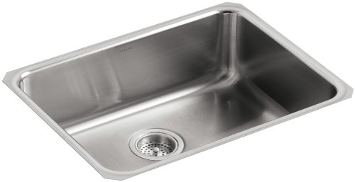 KOHLER K-3332-NA Undertone Extra-Large Squared Undercounter Kitchen Sink, Stainless Steel ()