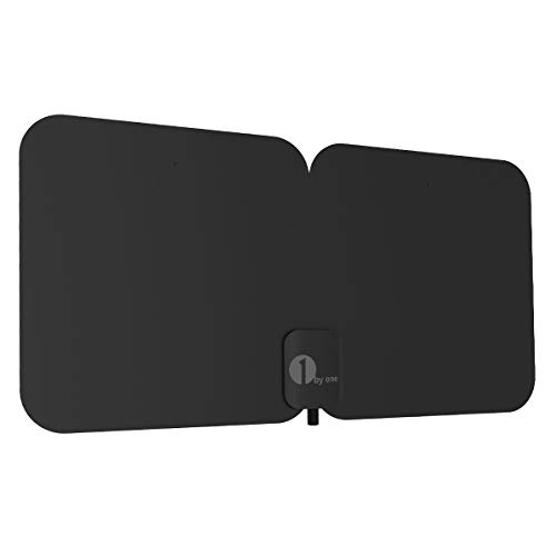 HDTV Antenna, 1byone Indoor/Outdoor Amplified Digital TV Antenna-Waterproof Support UHF/VHF/1080P HD Freeview Channels, 26 Feet Coaxial Cable (Black)