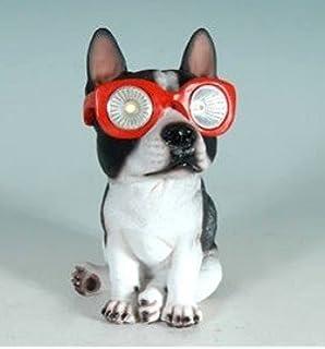 Solar Powered Boston Terrier Lawn Garden Decor Dog Statue Indooor Outdoor