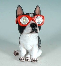 Mayinc Solar Powered Boston Terrier Lawn Garden Decor Dog Statue Indooor  Outdoor