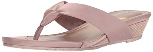 - Kenneth Cole REACTION Women's Date Low Wedge Thong Sandal Satin, Mink, 8 M US