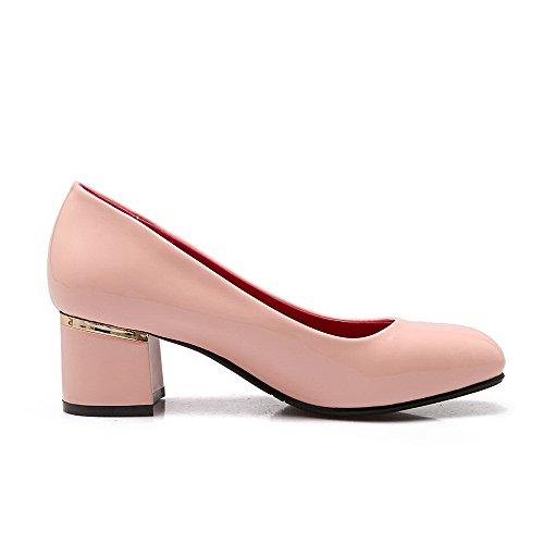 AllhqFashion Mujeres Tacón ancho Sólido Puntera Cuadrada Cerrada De salón con Ornamento Metal Rosa