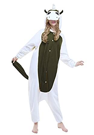 "Newcosplay Halloween Unisex-Adult Unicorn Pajamas Homewear Onepiece Cosplay Costume Lounge Wear (S-For height 59""-63"", Black Unicorn)"