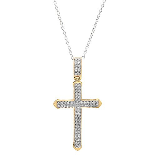 Dazzlingrock Collection 0.30 Carat (ctw) 10K White Diamond Men's Cross Pendant 1/3 CT (Silver Chain Included), Yellow Gold ()