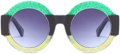 WSKPE Sonnenbrille Männer Frauen Runde Sonnenbrille Uv400 Grün + Schwarz + Gelb Rahmen Doppelter Grauer Linse